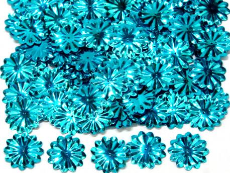 Cekiny kwiatki 22mm promienie turkusowe
