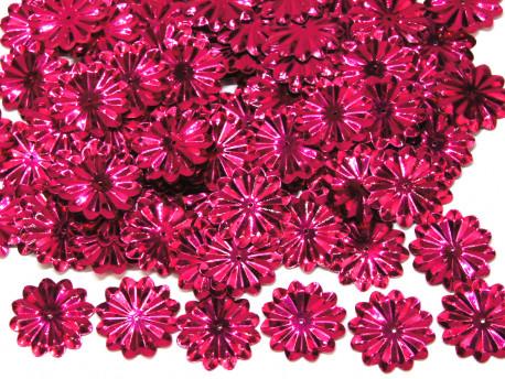 Cekiny kwiatki 22mm promienie amarantowe różowe