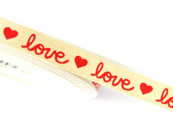 Tasiemka bawełniana jodełka 15mm love