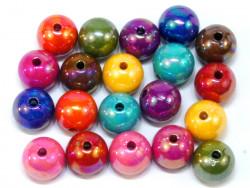 Koraliki kulki opalizujące 12mm mix kolorów 20szt