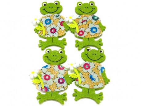Aplikacje z filcu żabki dziewczynki 4szt przylepiec