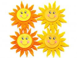 Aplikacje z filcu i drewna słoneczka 4szt przylepiec
