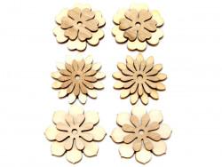 Drewniane kwiaty 6szt przylepiec
