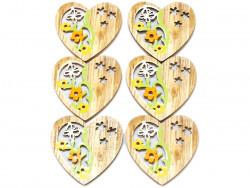 Drewniane serca 6szt przylepiec