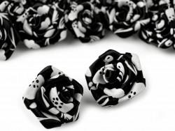 Atłasowe różyczki z nadrukiem 25mm czarne