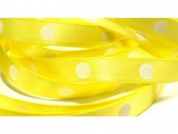 Wstążka satynowa grochy 10mm żółta