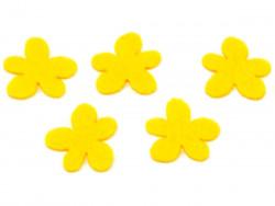 Aplikacja kwiatek obły z filcu żółta