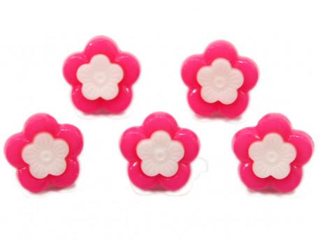 Guziki kwiatki z obwódką różowe