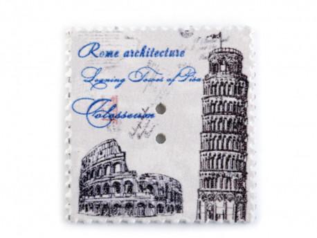 Guziki drewniane znaczek ROMA PISA