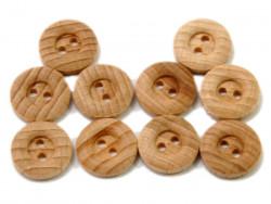 Drewniane guziki - obłe, ciemne, 15mm