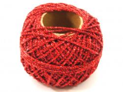 Sznurek / kordonek z lureksem czerwony