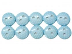Guziki 10mm w kropki błękitne