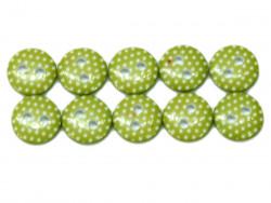 Guziki 10mm w kropki oliwkowe
