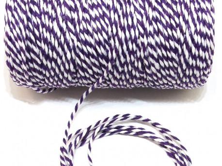 Sznurek bawełniany skręcany 1,5mm fioletowo biały