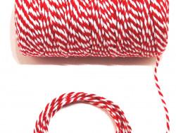 Sznurek bawełniany skręcany 1,5mm czerwono biały 100m