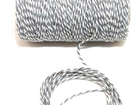 Sznurek bawełniany skręcany 1,5mm szaro biały