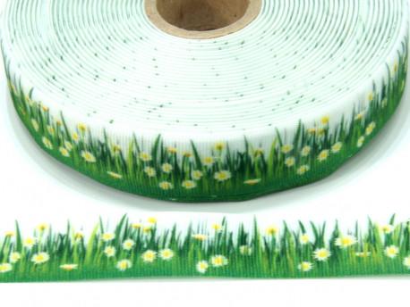 Wstążka rypsowa 20mm łąka z białymi kwiatami