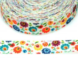 Wstążka rypsowa 20mm kwiaty folk
