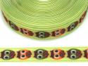 Wstążka rypsowa 20mm sowy zielone