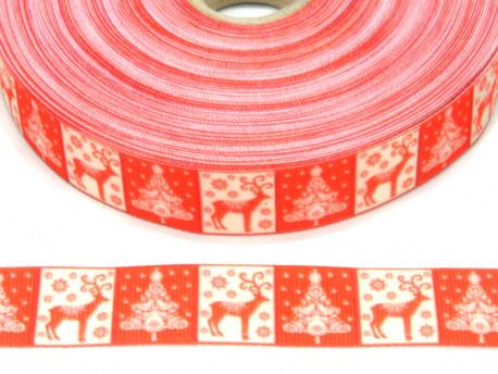 Wstążka rypsowa 20mm ornament świąteczny kwadraty
