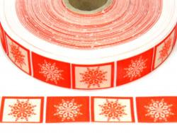 Wstążka rypsowa 20mm ornament świąteczny śnieżynki