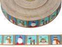 Wstążka rypsowa 20mm ornamenty świąteczne niebieskie