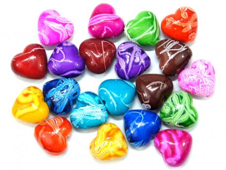 Koraliki serca 21,19mm mix kolorów 20szt