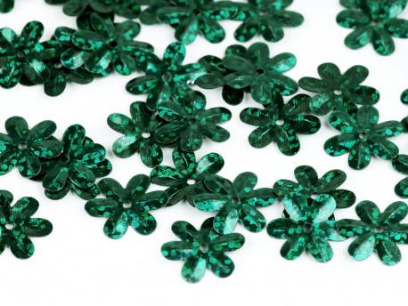 Cekiny kwiatki 15mm hologramowe zielone