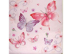 Serwetki Decoupage - Różowe motyle