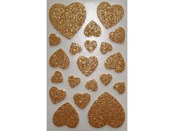 Naklejki Serca Brokatowe - Złoty