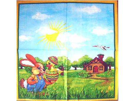 Serwetki Decoupage - Wielkanoc Zajączek i Kurczaczek