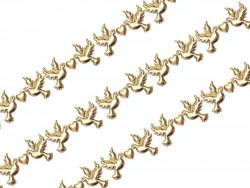 Aplikacje gołąbki z serduszkiem 40mm złote