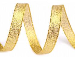 Tasiemka brokatowa 6mm złota 27m
