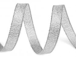 Tasiemka brokatowa 6mm srebrna 27m