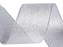 Tasiemka brokatowa 25mm srebrna