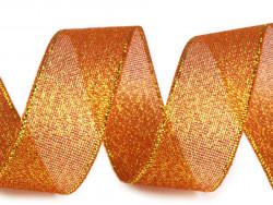 Tasiemka brokatowa 25mm pomarańczowa