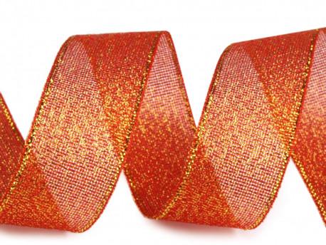Tasiemka brokatowa 25mm czerwona