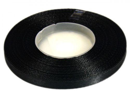 Wstążka satynowa 6mm - czarna