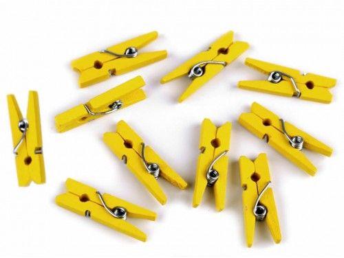 Drewniane klamerki mini, spinacze - 2szt, żółte