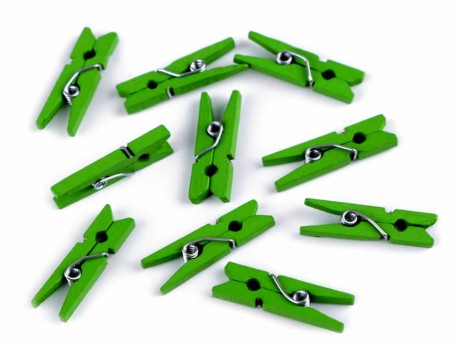 Drewniane klamerki mini, spinacze - 2szt, zielone