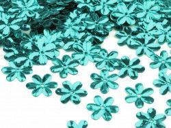 Cekiny kwiatki 15mm turkusowe 20g