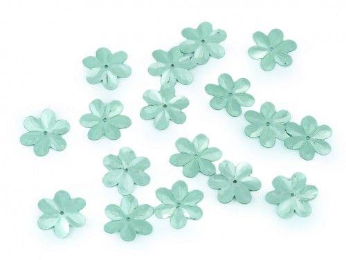 Cekiny kwiatki 15mm miętowe 20g