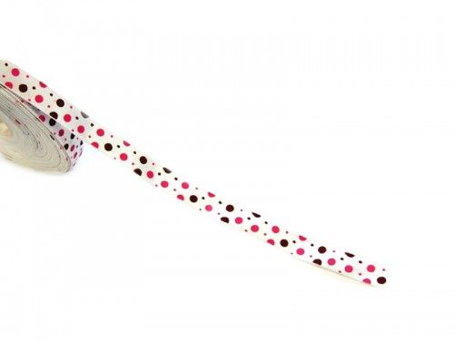Wstążka satynowa w kropki różowe i brązowe 10mm