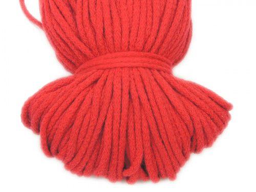 Sznurek bawełniany 5mm bez rdzenia czerwony 100m