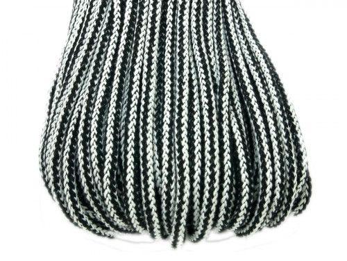 Sznurek bawełniany 5mm w paski czarne