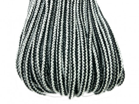 Sznurek bawełniany 5mm w paski czarne 50m