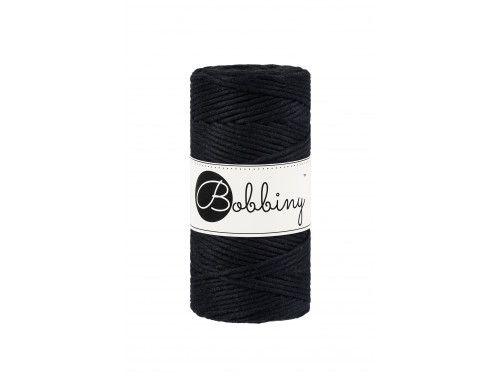 Sznurek bawełniany skręcany 3mm czarny BOBBINY