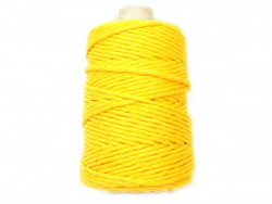 Sznurek bawełniany 5mm skręcany żółty 100m