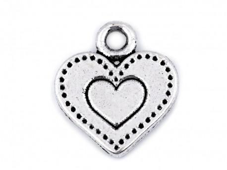 Zawieszka metalowa serce medalion