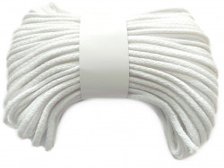 Sznurek bawełniany pełny 5mm biały 50m